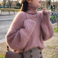 Winter Thick Women Knit Sweater Shirt Turtleneck Jumper Baggy Casual Tops Blouse