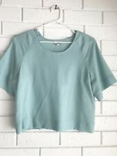 Livia Arena Aqua Top Size 2 Womens Wool Crop blouse Tee NWOT