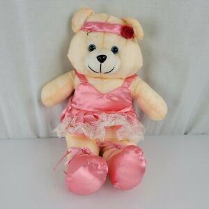 Dayton Hudson Vintage Stuffed Plush Teddy Bear Ballet Ballerina Nylon Satin Pink