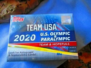 TOPPS TEAM USA 2020 OLYMPIC & PARALYMPIC CARDS BLASTER BOX SEALED IN HAND