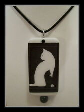TWO CATS IN ONE, BLACK AND WHITE CATS - DOMINO PENDANT WITH MATCHING BOX