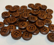 10 x 15mm Coffee Brown Wooden Buttons - Australian Supplier