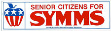 """""""Senior Citizens For Symms"""" 1970's or 1980's Steve Symms Bumper Sticker"""