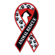 Magnetic Bumper Sticker - Animal Rescue Support Ribbon - Awareness Magnet