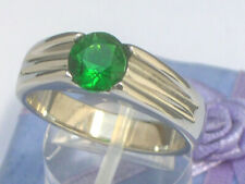 7 mm 2.30 Ct. 316 Stainless Steel Solitaire May Green Emerald Men Ring Size 8