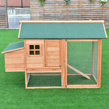 "67"" Pet Wooden House Rabbit Hutch Chicken Coops Cage Nest Box w Tray Run Outdoor"