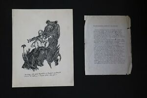William Archibald Playwright and Artist Ink Drawing Signed & Dated 1942