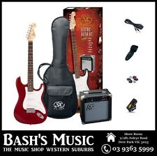 SX Electric Guitar Starter Package with Amp + Tuner + Bag Red