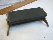 Early 1870 Patent Razor Hone Holder Black Diamond Knife Sharpening Stone Barber