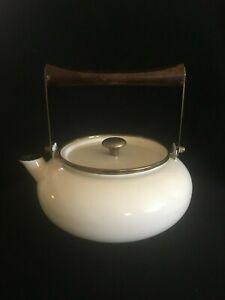 Enamel Metal Teapot Kettle Wood Handle Mid-Century Modern