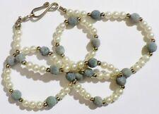 collier bijou rétro petites perles blanches, lave bleu, couleur argent * 5014