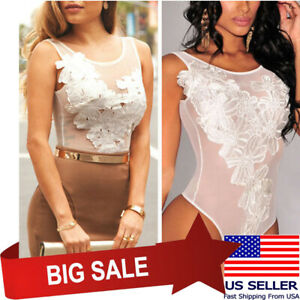 Womens White Sheer Mesh Sleeveless Party Bodysuit Jumpsuit Floral Tops Club Wear