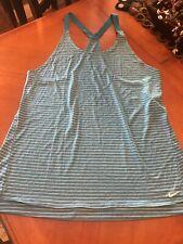New listing Nike sz XL women's Swim Cover up Tank Dress Turquoise Blue W/ White Stripe
