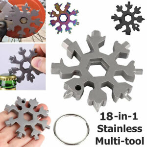 18in1 Snowflake Multi-Tool Key Chain Stainless Multi-Function Screwdriver Wrench