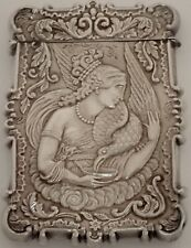 ANTIQUE VICTORIAN STERLING SILVER REPOUSSE HEBE FEEDING EAGLE CALLING CARD CASE