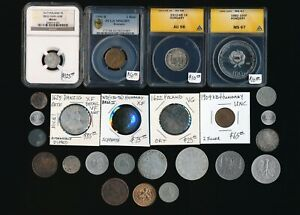 25 OLD COINS POLAND  HUNGARY & MORE COINS> MUST SEE> NO RSRV