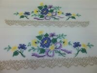 Pair Vintage Embroidered Standard Pillowcases - Forget Me Not and Yellow Posies