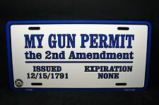 GUN PERMIT METAL NOVELTY LICENSE PLATE TAG FOR CARS THE SECOND AMENDMENT