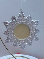 "Snowflake Photo holder Christmas Ornament  picture frame  holds 2"" X 2"" picture"