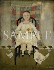 Primitive Louanna Girl Quilt Chicken Sunflower Folk Art Beth Albert Print 8x10
