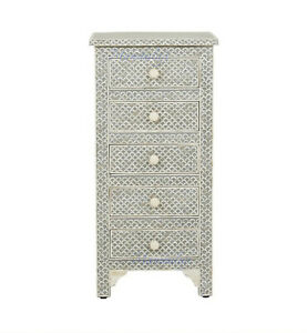 Bone inlay chest of 5 drawers fish-scale design tallboy in grey color with insur