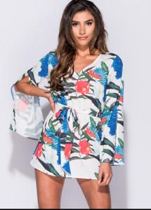 Ladies Parisian Shorts Play Suit Summer Festival Long Sleeve
