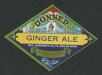 Donner Brand Ginger Ale Soda Label - Truckee California Vintage NOS