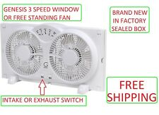 "Twin Window Fan with 9"" Blades Adjustable Thermostat INTAKE & EXHAUST SETTINGS"