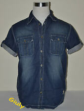 Camicia uomo manica corta jeans M-L-XL  VINTAGE Taschini Bottoni