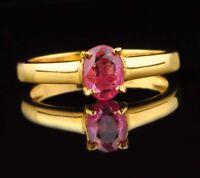 1,25 Karat Ovale Form 585er Gelbgold Natürliche Rosa Turmalin Frauen Ring