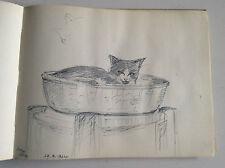 Album c1964-70  de 39 originales dessins - acquarelles    de chats et chiens