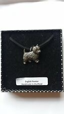 D1 Westie Motif Pewter  PENDENT ON A  BLACK CORD  Necklace Handmade