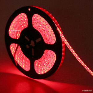 Waterproof Red 5M 600 Leds 3528 Led Strip Lights SMD Flexible DIY Lamps 12V