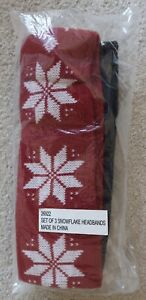 Snowflake Cold Weather Headbands Set of 3 Red, Black, Navy Blue Holiday