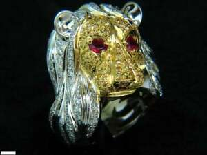 Huge Lion Face In Real 925 Two Tone Silver With Clear White CZ & Ruby Eyes Ring