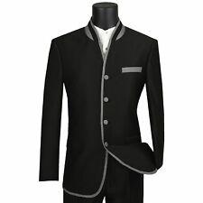 VINCI Men's Black Sharkskin Banded Collar Slim Fit Tuxedo Suit NEW