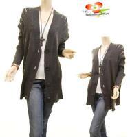 Haute BOHO Gray Pointelle Knit Oversized Outerwear Sweater Cardigan S M L XL 1X
