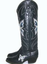 Vtg 70's Justin 6-B Women's Navy Blue Cowboy Boots Butterfly Exotic Snake Skin