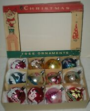 12 Vintage Glass Fantasia Christmas Ornaments -Stencilled Scene Poland Orig Box