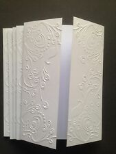 5 Embossed Blank A6 White Gatefold Cards and C6 Envelopes - Peacocks