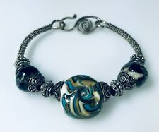 Artisan Made Bangle Bracelet Loaded with Sterling Silver & Interesting Beads e