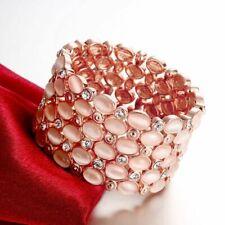 Womens Rose Gold Filled Elegant CZ Elastic Stretch Bangle Vogue Bracelet #DB19