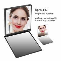 LED Portable Mini Makeup Travel Compact Pocket Folding Mirror Cosmetic Beauty ZL