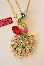 Betsey Johnson Crystal Rhinestone Peacock Necklace Pendant Brooch Pin