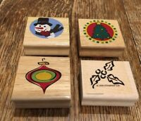 Christmas Wood Mounted Rubber Stamps Set Of Four