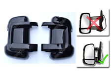 Peugeot Boxer Door Mirror Casing PROTECTOR Protective Covers BLACK Pair 2006 On