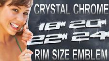 "18"" 20"" 22"" 24"" Inch Bling Diamond Crystal Chrome Tire Rim Wheel Size Emblem"