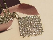 CRYSTAL SQUARE DIAMANTE PENDANT - 100 CRYSTAL STONES - PLUS SILVER CHAIN - 45CM
