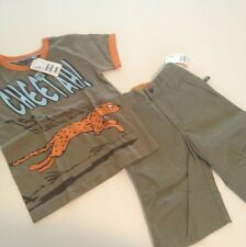 Nwt H&M Cheetah Outfit Set Tee Top T-shirt Shorts 2 Yr