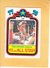 1978 79 O PEE CHEE ALL STAR # 330 KEN DRYDEN PUZZLE BACK MONTREAL CANADIENS
